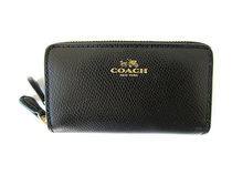 COACH Crossgrain Leather Small Double Zip Coin F63921
