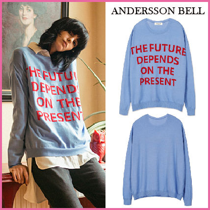 ANDERSSON BELL genuine SLOGAN INTARSIA sweater BLUE /