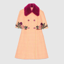GUCCI(グッチ)☆Check print cape coat with mink☆イエロー系