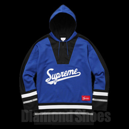 FW16 SUPREME 3M REFLECTIVE HOODED HOCKY TOP ROYAL 送料無料