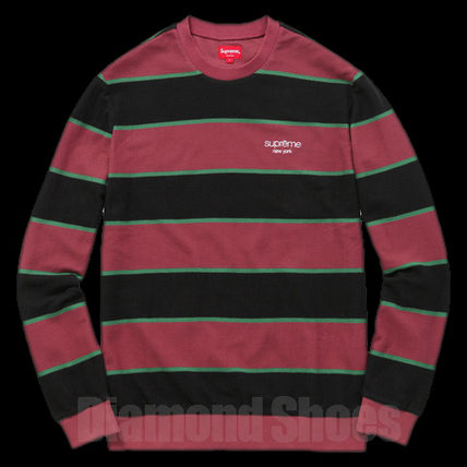 FW16 SUPREME STRIPED TWILL CREWNWCK BURGUNDY S-XL 送料無料