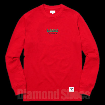FW16 SUPREME THISTLE L/S TEE RED レッド S-XL 送料無料
