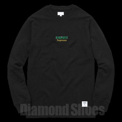 FW16 SUPREME THISTLE L/S TEE BLACK ブラック S-XL 送料無料