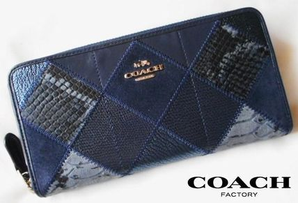 安心国内 即発 COACH PATCHWORK LEATHER ZIP 長財布 54021 NV