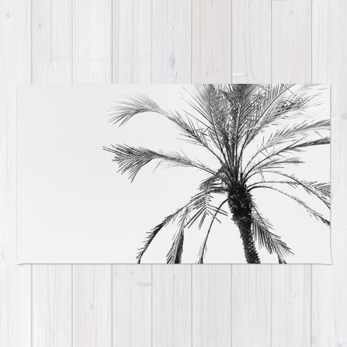 Society6◆洗えるラグマット◆Palm trees and black white