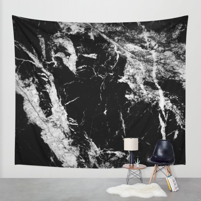 Society6◆タペストリー◆Dark marble black white stone1