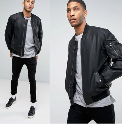 ASOS artificial leather bomber jacket black MA1