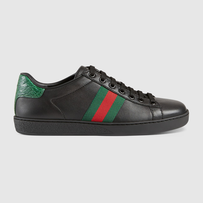 [GUCCI] 【Ace Sneakers】 Webディテール レザー スニーカー☆
