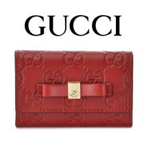 16AW新作☆Gucci☆BOW Guccissima 6連キーケース HIBISCUS RED♪