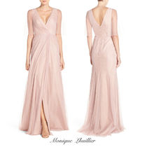 Monique Lhuillier(モニークルイリエ) ドレス-ロング 【関税・送料込】 Sheer Capelet V-Neck Tulle A-Line Gown