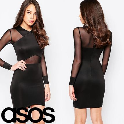 売切確実AX Paris Long Sleeve Bodycon Dress with Mesh Inserts
