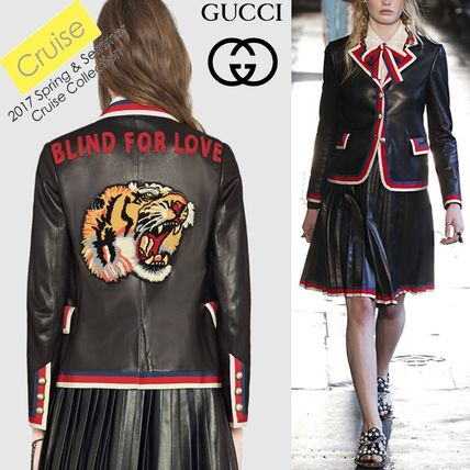 17 cruise Tiger embroidered leather jacket GUCCI