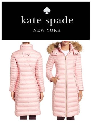 16NEW kate spade quilted ダウンジャケット ファー付き