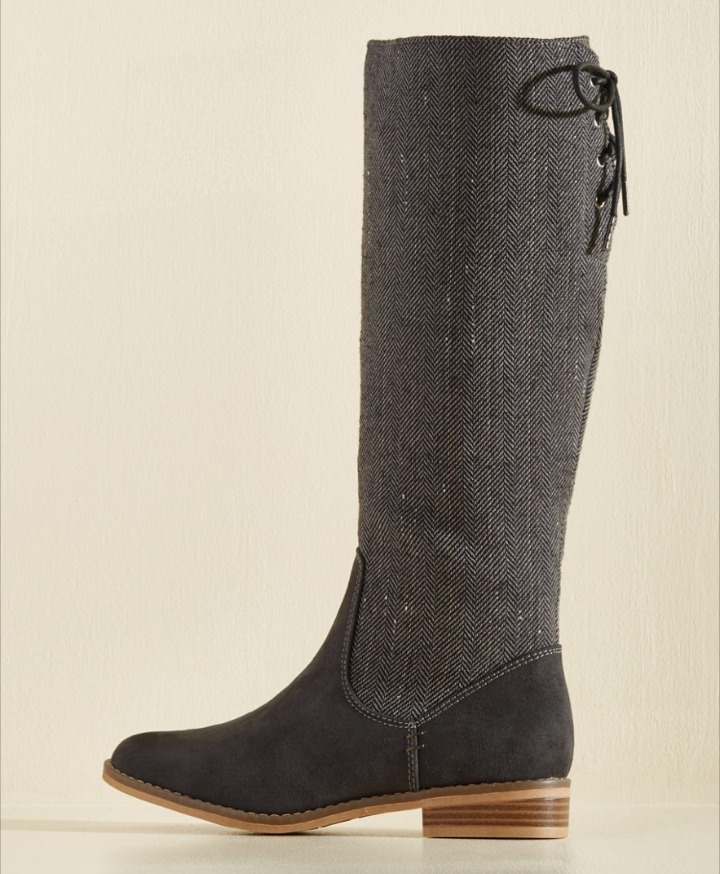 Modcloth★Results May Ferry Boot*ヘリンボーンロングブーツ