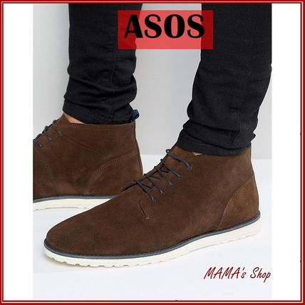 ASOS★Lace Up Boots in Brown Suede With White Wedge Sole