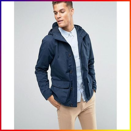 Jack Wills Jacket With Hood In Canvas Navy 関税/送料込