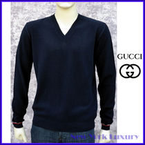 GUCCI★グッチ★素敵!Navy Cotton V-neck Sweater