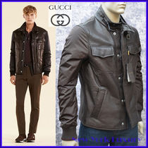 GUCCI★グッチ★素敵!Brown Leather Nylon Mens Jacket