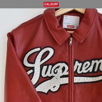 即発送可能☆MサイズSupreme STUDDED LEATHER SCRIPT JAKET/RED