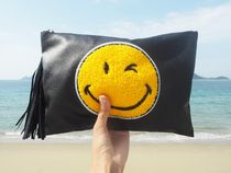 【新作】【即発】 Leather Tussel Smile Clutch Bag 《BLACK》