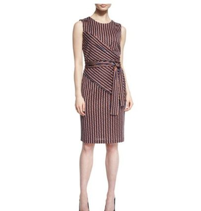 DVF:Ashlie Sleeveless Rickrack Stripe Silk Dress