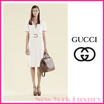 GUCCI★グッチ★素敵! WHITE DRESS BAMBOO BUCKLE BELTED