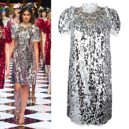 16-17AW DG761 LAST LOOK FLARED SEQUIN DRESS WITH JEWEL
