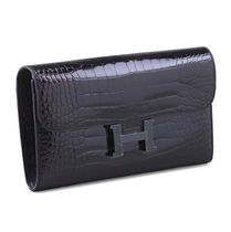 "2016 HERMES★★""SO BLACK""CONSTANCE Portefeuille★★Alligator"