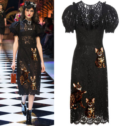 16-17AW DG773 LOOK70 LACE MIDI DRESS WITH CAT APPLIQUE