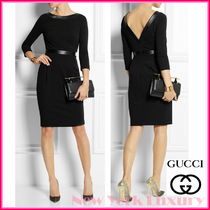 GUCCI★グッチ★LEATHER TRIMMED DEEP V-BACK DRESS