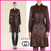 GUCCI★グッチ★素敵!Dark Red LEATHER Belted TRENCH COAT