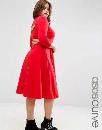 ASOS CURVE Midi Skater with Cut Out Back