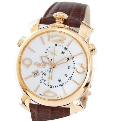 大人気☆GaGa MILANO☆腕時計 THIN CHRONO 46MM GOLD PLATED♪