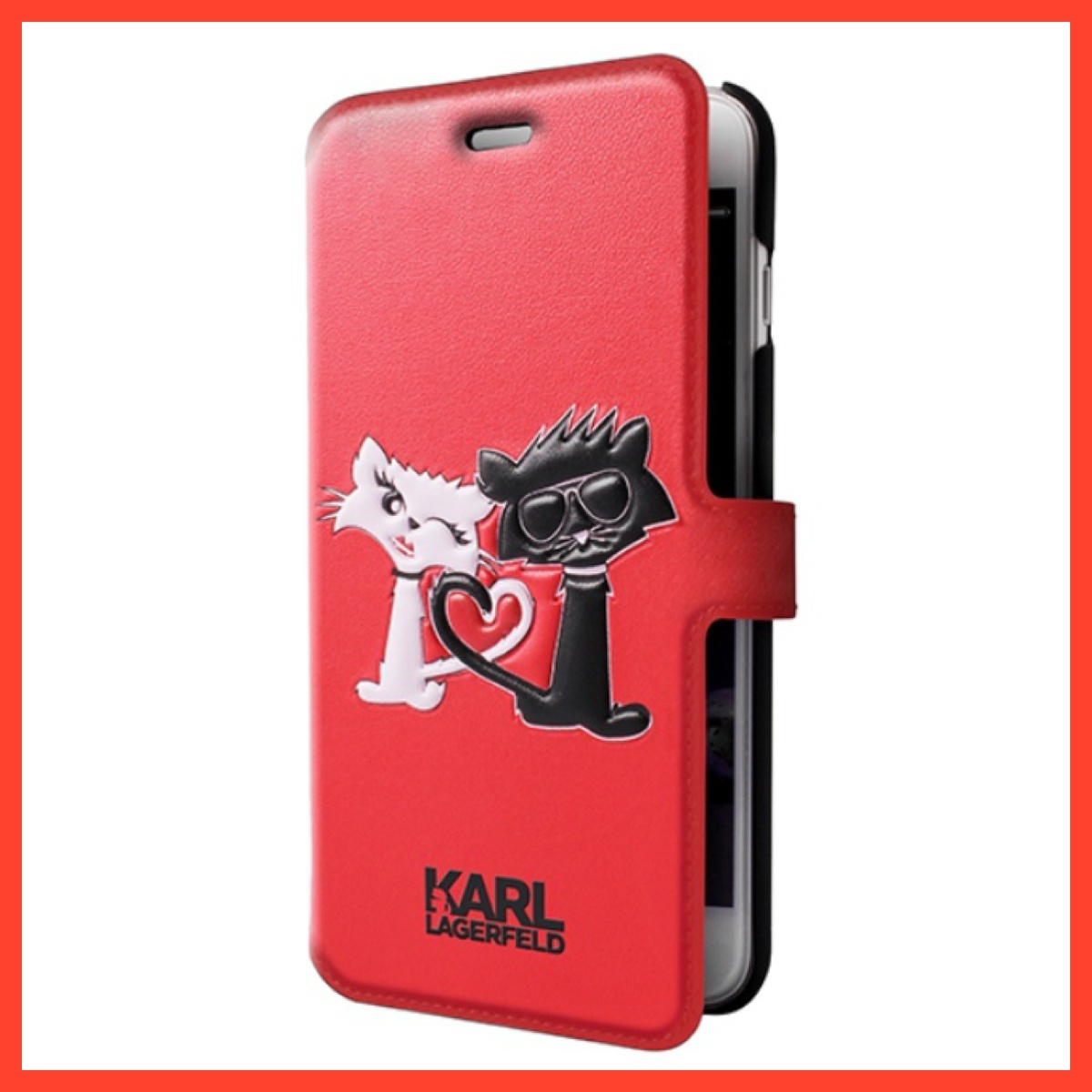 KARL LAGERFELD / iPhone 7 / Choupette in Love Booktype Case