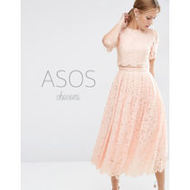 ASOS(エイソス) ドレス-ロング 国内発送〓ASOS * Lace Crop Top Midi Prom Dress* Nude
