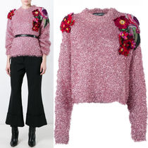 16-17AW DG781 FLORAL APPLIQUE OVERSIZED FLUFFY SWEATER
