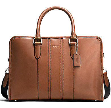 Dark saddle COACH bond brief bag
