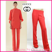 GUCCI★グッチ★素敵!VIBRANT BEGONIA PINK SILK FLARED PANTS