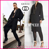 GUCCI★グッチ★素敵!SATIN LEATHER TRIMMED BLACK COAT