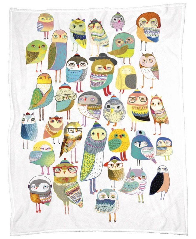 ◆JUNIQE◆Owl HundredsデザインブランケットBy Ashley Percival