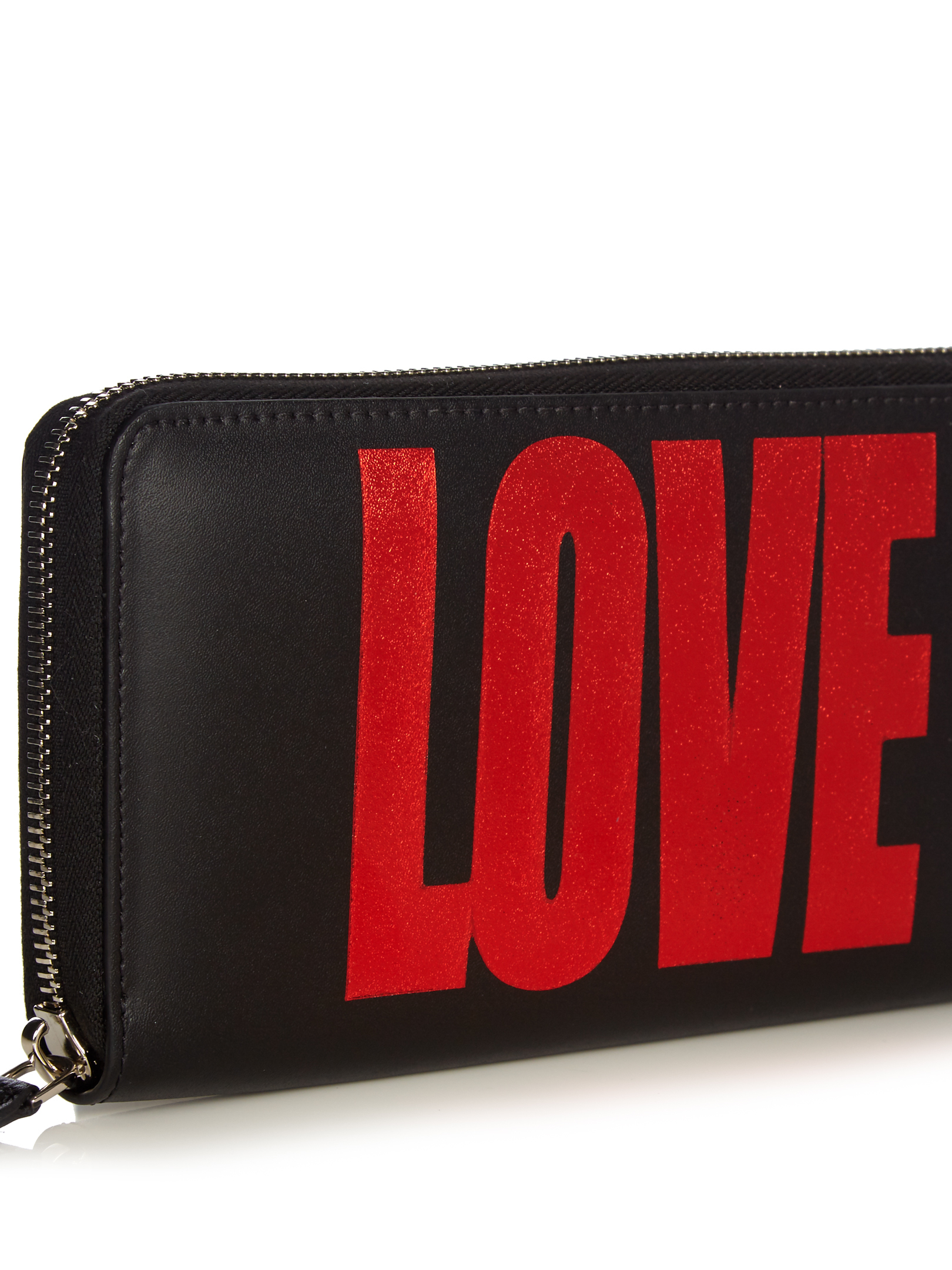 【国内発送】Love-print leather zip-around wallet