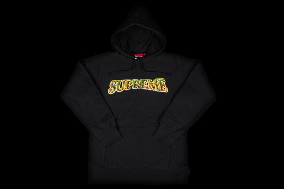 FW16 SUPREME METALLIC ARC HOODED SWEATSHIRT BLACK 送料無料