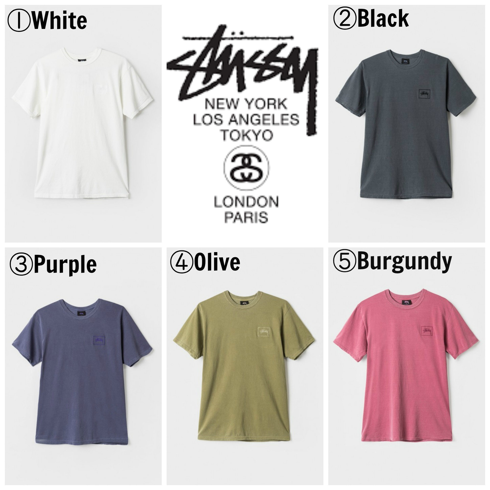 【STUSSY】☆16AW新作☆STOCK FRAME EMB. PIGMENT DYED TEE