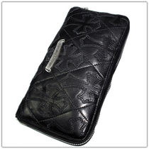 CHROMEHEARTS  CEMETERY CROSS QUILTED BLACK LIGHT LEATHER