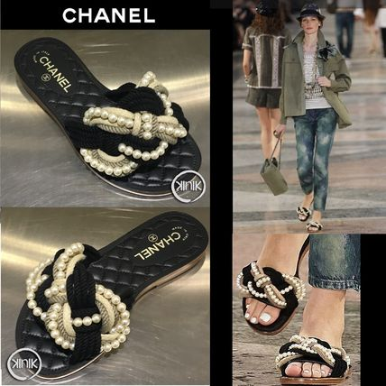 CHANEL 2017C Mules with Cord & Fantasy Pearls