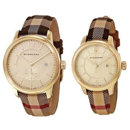 Burberry watches palocci gold check leather BU10001