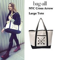 即納Bag-all NY発 厚手キャンバス NYC Cross Arrow Large Tote