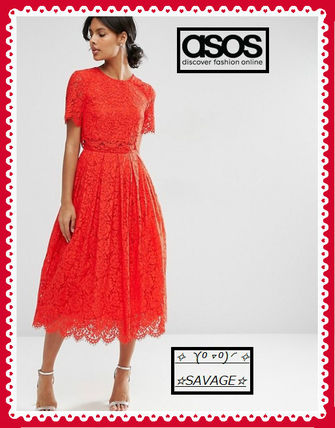 日本未入荷☆彡ASOS ☆彡Lace Crop Top Midi Prom Dress