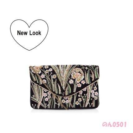 * ASOS select * NewLook * black floral embroidered clutch