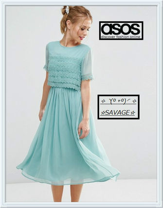 日本未入荷☆ASOS☆ SALON Layer Lace Crop Top Midi Prom Dress